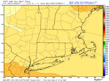 1/31 06Z NAM-4km showing inverted trough setup in eastern MA (courtesy WeatherBell)
