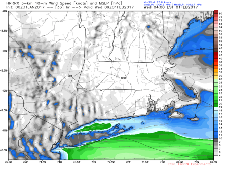 1/31 00Z HRRRX showing inverted trough setup in eastern MA (courtesy WeatherBell)